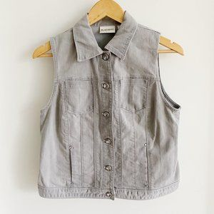Chico's Platinum Gray Denim Vest with Gem Buttons